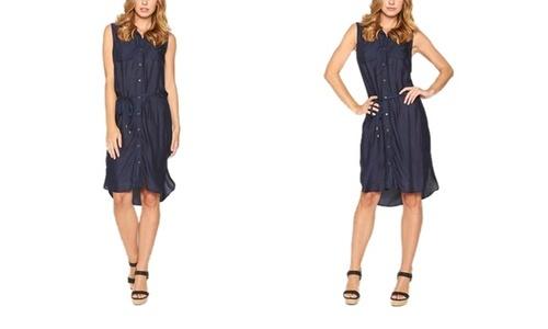 08eeee4cecb Women s Button Down Knee Length T-Shirt Dress - Navy - Size M ...