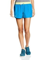 Under Armour Women's Play Up Shorts, Dynamo Blue/High-VIS Yellow, X-Large 1983699