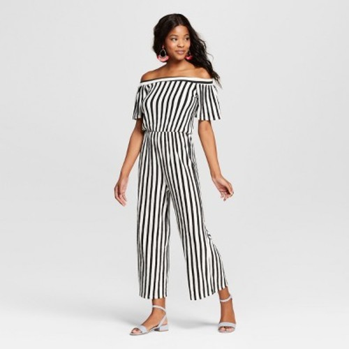 9f499e8732c Women s Off the Shoulder Striped Jumpsuit - Love   First Sight (Juniors )  Black