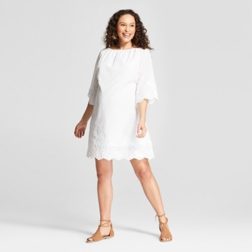 a1bfb470708a6 Maternity Embroidered Flutter Sleeve Swing Dress - Isabel Maternity by  Ingrid & Isabel White XXL