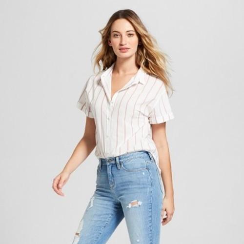 803bc325a6cf9b ... Universal Thread Women s Striped Button Down Shirt - Cream - Size S ...