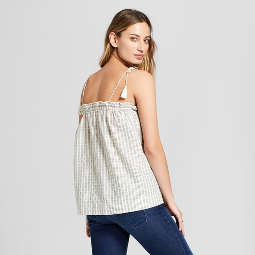 f85a8a636aaeee ... Universal Thread Women s Embroidered Tank Top - Black Stripe - Size S  ...