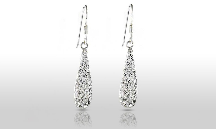 Sterling Silver White Swarovski Elements Crystal Dangle Earrings