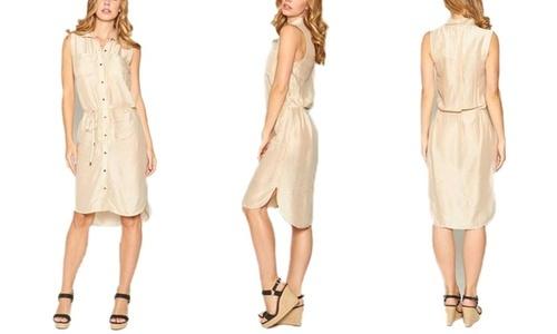 f80455be1d6 Seranoma Women s Button Down Knee Length T-Shirt Dress - Beige - Size M