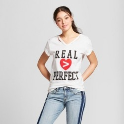 Women's Real is Greater than Perfect Short Sleeve Cut Out Neck T-Shirt - Mighty Fine (Juniors') White S 2041990