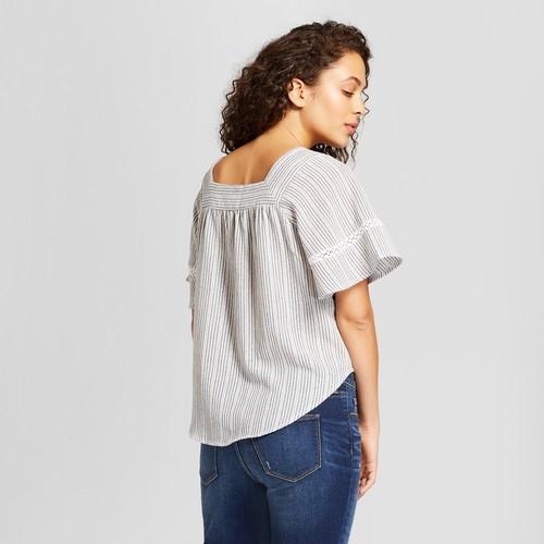 89d4dbadad6b95 ... Universal Thread Women s Striped Ruffle Sleeve Top - Blue - Size S ...
