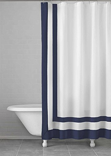 Kassatex 100 Cotton Edged Framed Shower Curtain 72 X 72 Navy Check Back Soon