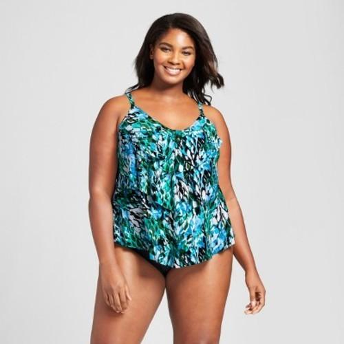Aqua Green Women S Plus Size Tiered Tankini Top Multi