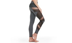 Sexy Mesh Panel Moisture Wicking Active Compression Leggings L Grey Stretch 1992903