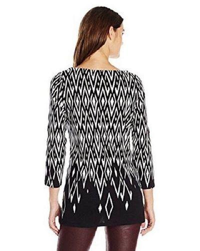 30009e1a6e6 Rafaella Women's 3/4 Sleeve Diamond Print Top - Black/White - Size:S ...