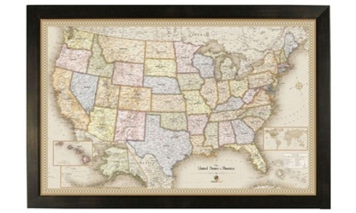 Home Magnetics Large USA Travel Map with Frame & 50 Pins - Size: 38\