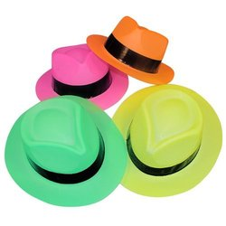 Fun Express Plastic Gangster Hats 12 Pack - Assorted Colors - Size: One