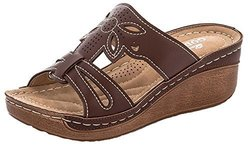 Lady Godiva Women's Open Toe Wedge Sandals - Brown - Size: 10