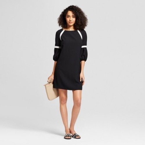 Melonie T Womens Bubble Sleeve Solid Color Block Dress Black