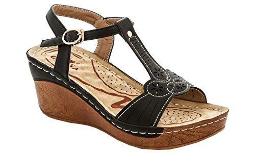 cc86a54a1033 Lady Godiva Women s T-Strap Wedge Sandals - Black - Size 8 - Check ...