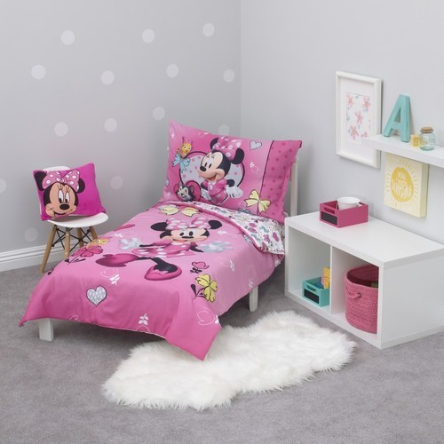 Disney 4 Piece Minnie Mouse Toddler Bedding Set Multi Check Back