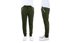 Harvic Men's French Terry Slim Fit Joggers - Olive - Size:M 1413576