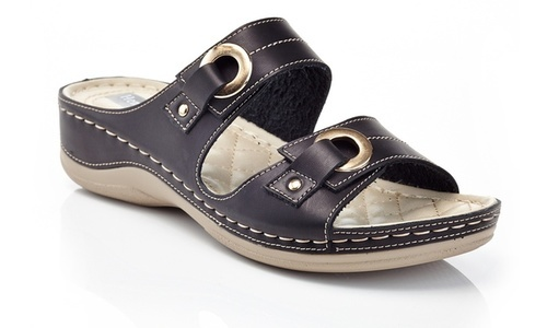 485b981036df Henry Ferrera Women s Double-Strap Comfort Wedge Sandal - Black ...
