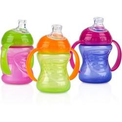 Nuby 3-Pack 8-oz 2 Handle Grip N' Sip Super Spout Trainer Cup, Girl, BPA-Free 2155958