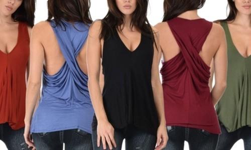 b47cb455ed423 Lyss Loo Women s Twist My Back Tank Top - Olive - Size L - Check ...