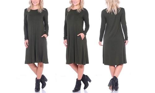 bde8f7f3c2 Popana Women s Below The Knee Long Sleeve Swing Dress - Olive - Size S ...