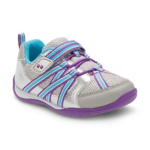 94884d0897 Stride Rite Toddler Girls' Shea Bungee Sneakers - Silver/Blue - Size .