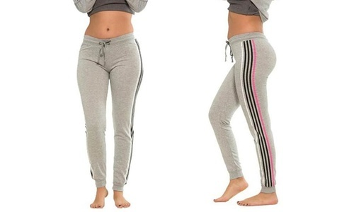 23c20ddf2a Coco Limon Women's Rainbow Striped Track Joggers Pants - Gray - Size:L