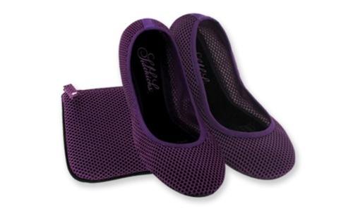 NEW Sidekicks Women's Mesh Foldable Ballerina Flats - Purple - Size:7-8
