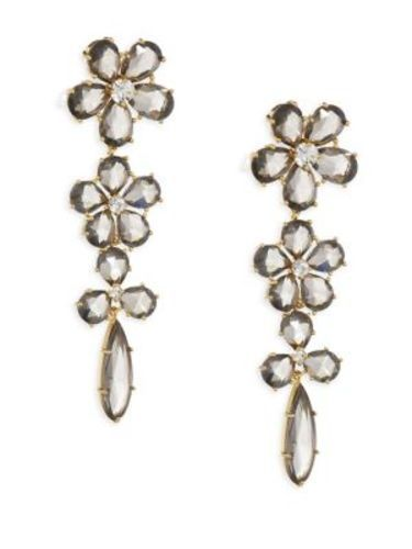 661359f6e3f0e kate spade new york 14k Gold-Plated Crystal Flower Linear Drop ...