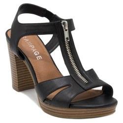 Rampage Women's Zip Up Block Heel Sandals - Black - Size:10 2203392