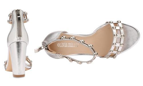489536a811 ... Olivia Miller Women's Studded Chunky Heel Sandals - Silver - Size:11 ...