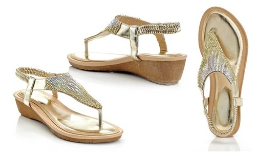 b4614b05f429e Lady Godiva Women s Metallic Thong Wedge Sandals - Gold - Size 5.5 ...