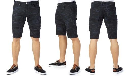 dadd037626 X-Ray Jeans Men's Camouflage Moto Stretch Denim Shorts - Navy - Size ...