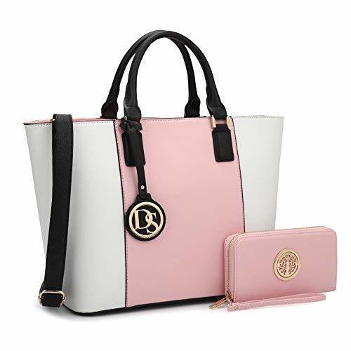 c5d353cd37ae Marco Designer Satchel Handbag Tote Bag W/Matching Wallet Satchel One Size  Pink/White ...