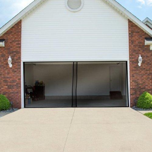 Pure Garden Two Car Garage Door Screen Curtain Black Check Back