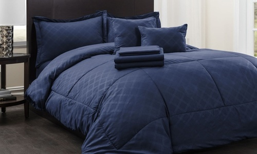 Hotel New York Plaid Bed In A Bag Comforter Set 10 Pc Navy Size
