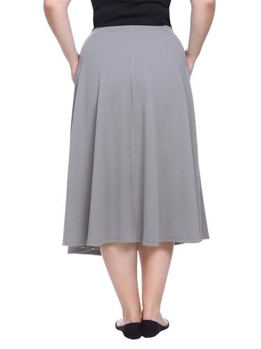 4c3ea245ea5 ... White Mark Women s Tasmin Flare Midi Skirt - Gray - Size  3XLarge ...