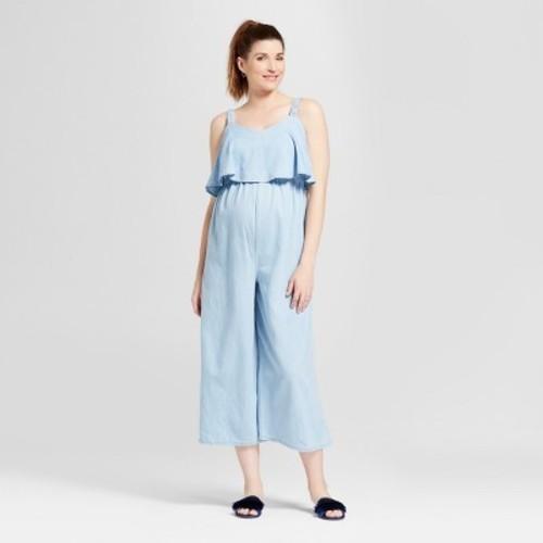 Ingrid Isabel Womens Maternity Jumpsuit Light Blue Sizes Blinq