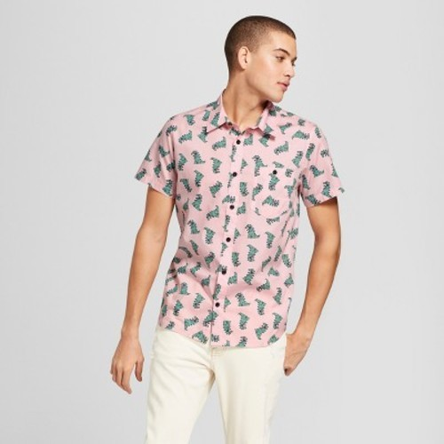f6336c011 Men's Rugrats Nickelodeon Raptar Short Sleeve Woven Button-Down Shirt -  Pink ...