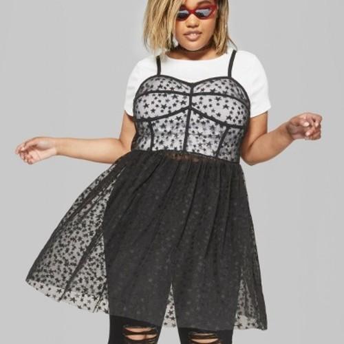 Wild Fable Women\'s Plus Size Strappy Sheer Dress - Black - Size:4X