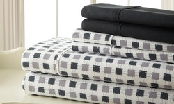 Printed Microfiber Sheets: Black-gray/queen