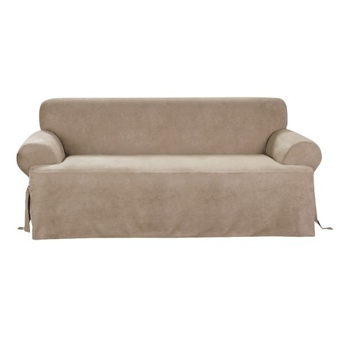 Sure Fit Suede Soft T Sofa Slipcover Taupe Check Back Soon Blinq