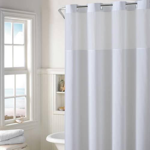 Hookless Plain Weave Shower Curtain With Peva Liner