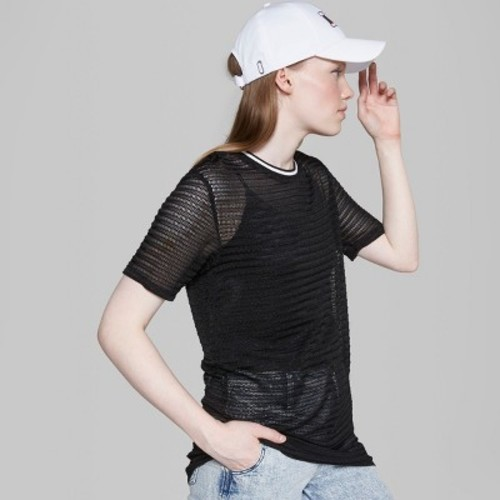 Wild Fable Womens Short Sleeve Mesh Dress Black Sizem Check