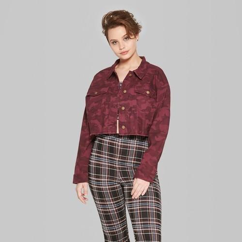 5da3decf575a6 Wild Fable Women's Camo Print Cropped Denim Jacket - Burgundy - Size ...