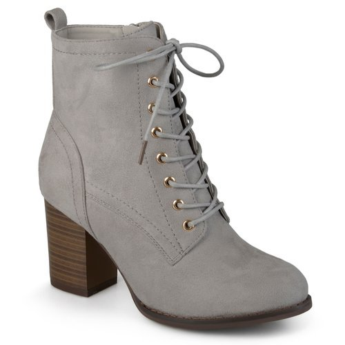 Journee Women s Stacked Heel Lace-up Booties - Gray - Size  10 - BLINQ 1ce61cf2e5