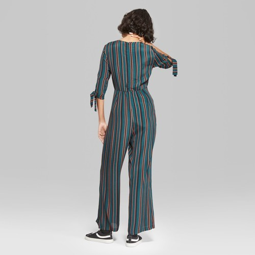 989c4c562e2 Wild Fable Women s Striped Jumpsuit with Sleeve Ties - Multi - Size ...