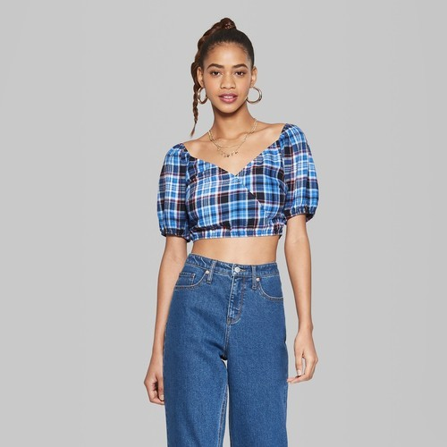 eea2ab4a Wild Fable Women's V-Neck Cropped Plaid Woven Top - Blue - Size:XL ...