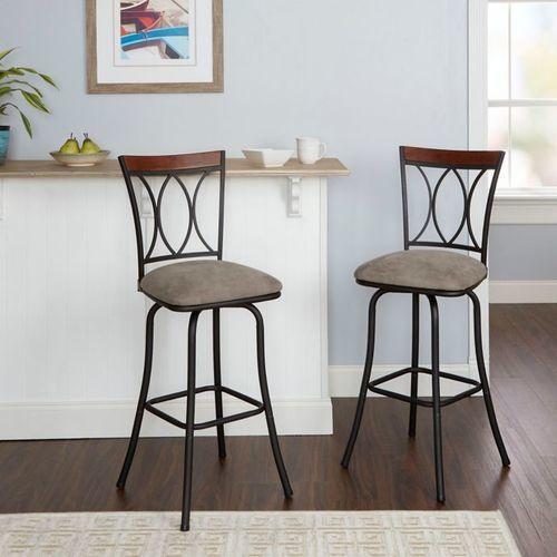 Stupendous Microfiber Swivel 29 Bar Stools Black Set Of 2 Dailytribune Chair Design For Home Dailytribuneorg