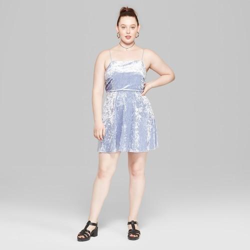 7f8b0917c29 Wild Fable Women s Plus Size Strappy Velvet Dress - Soft Blue - Size ...